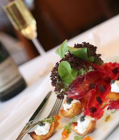 epicurean: Smoked salmon, yukon gold potatoes, creme fraiche and caviar salad