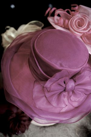 Pink hat at the millinery Stock Photo