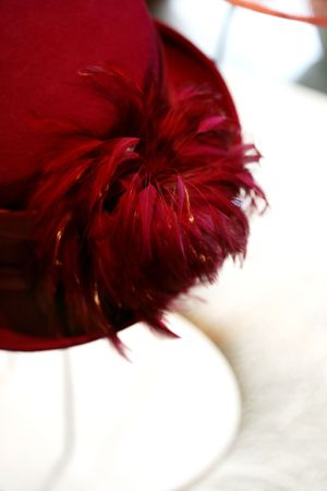 Hats with feather at the millinery
