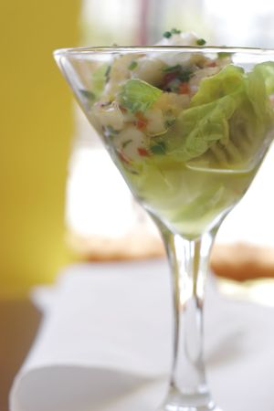 epicurean: Seafood Ceviche in a cocktail glass Stock Photo