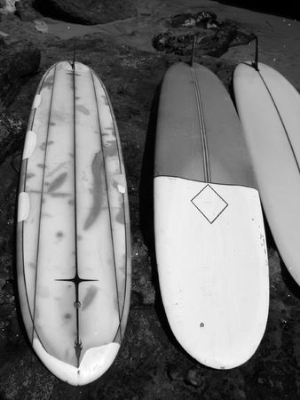 Vintage Surfboards, Santa Cruz, CA       Stock Photo