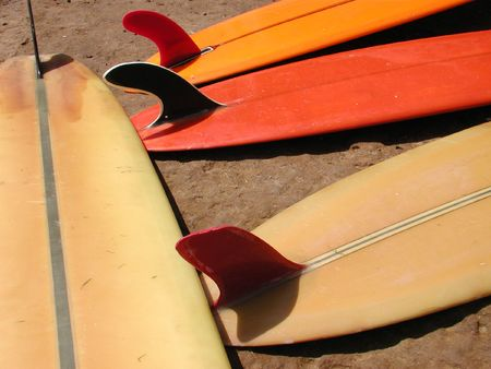 Vintage Surfboards, Santa Cruz, CA       Stock Photo