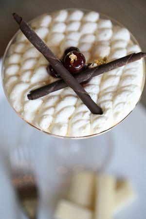 Strawberry shortcake with Chocolate straws photo