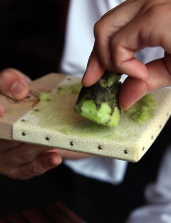 epicurean: Freshly made wasabi paste made from the root - not powder
