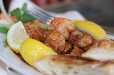 epicurean: Barbequed Shrimp Stock Photo