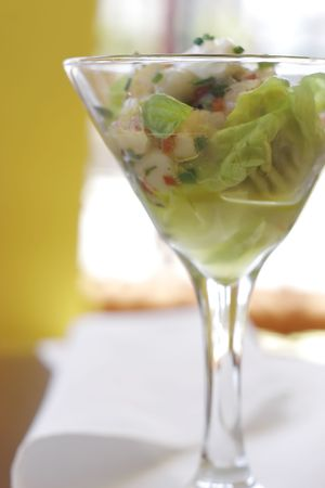 Seafood ceviche served in martini glass