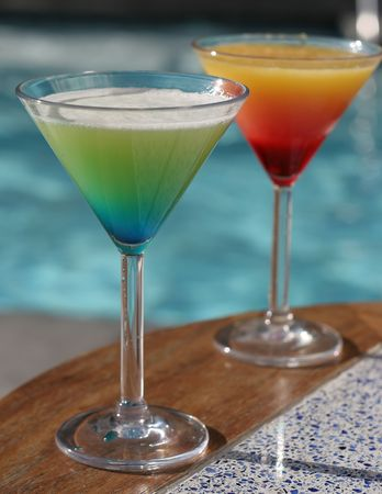 Signature cocktails served poolside Stock Photo