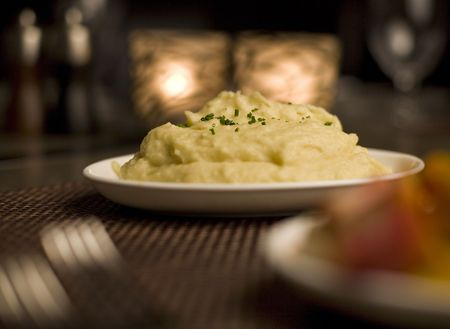 Mashed potatoes and mixed vegetable side dishes photo