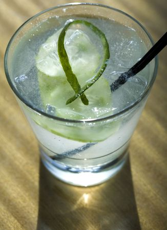 A crisp, delicious, and refreshing cucumber fizz! Stock Photo