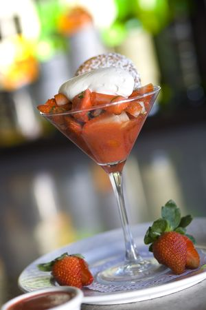 Macerated Strawberries with Creme Fraiche and Peppered Strawberry Coulis