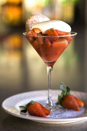 macerated: Macerated Strawberries with Creme Fraiche and Peppered Strawberry Coulis