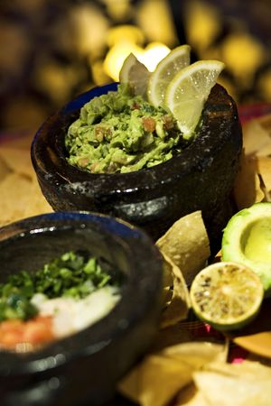 Freshly made table side guacamole
