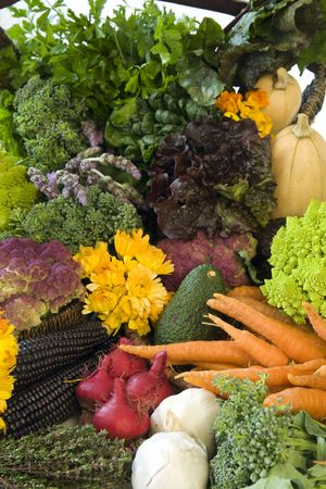 cruciferous: Freshly picked, organically grown fruits and vegetables