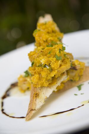 Pumpking bruschetta garnished with fresh parsley on toast points Stock Photo