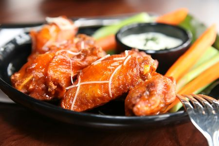 Spicy Buffalo Wings Bleu Cheese Dipping Sauce Stock Photo
