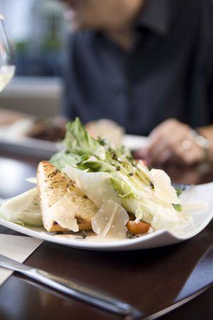 Hearts of romaine salad at a cafe Banco de Imagens