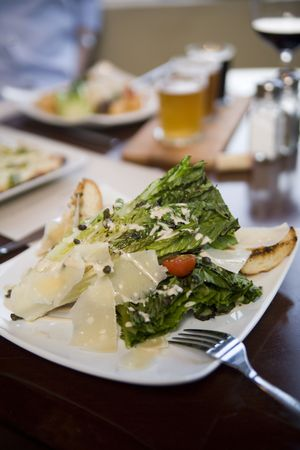 Hearts of romaine salad at a cafe Stock Photo