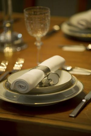 Elegant table setting in a private dining room Stock Photo - 6230800