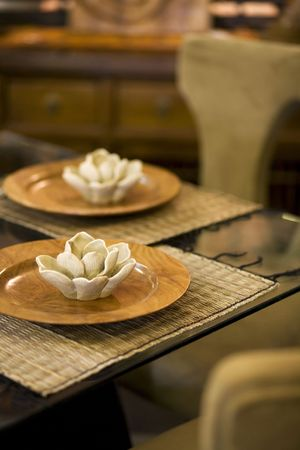 Lotus blossom place setting Stock Photo