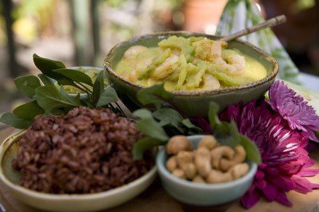 Thai food delicacies presented in traditional settings Stock Photo - 7921110