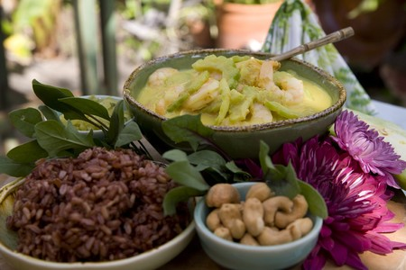 Thai food delicacies presented in traditional settings Stock Photo - 7921122