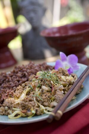 Thai food delicacies presented in traditional settings