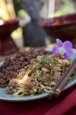 Thai food delicacies presented in traditional settings Stock Photo - 7921104