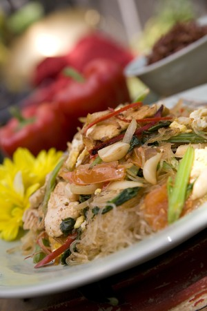 Thai food delicacies presented in traditional settings Stock Photo - 7921108