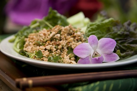 Thai food delicacies presented in traditional settings Stock Photo - 7921105