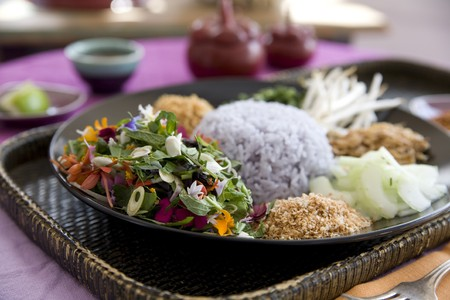 Thai food delicacies presented in traditional settings Stock Photo - 7921114