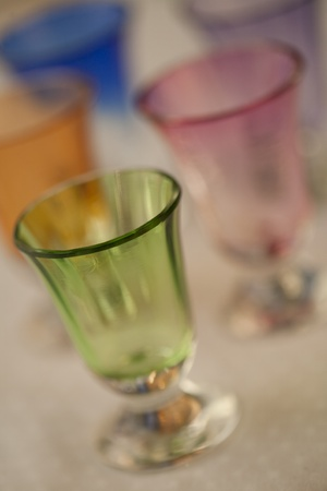 Colorful handblown glasses Stock Photo