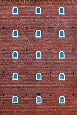 textile warehouse windows and brick photo