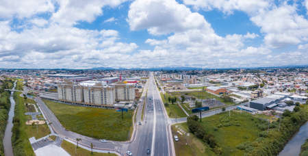 Deputy João Leopoldo Jacomel Highway (PR 415), entrance to Pinhais, the smallest municipality in the state of Paraná. Drone image on the border with Curitiba, capital of the state. Stock fotó