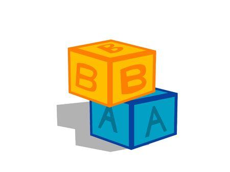 alphabetical cubes on isolated background     photo