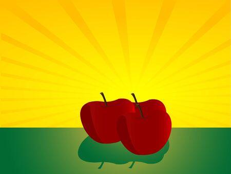 apples on sunburst background   Stock Photo