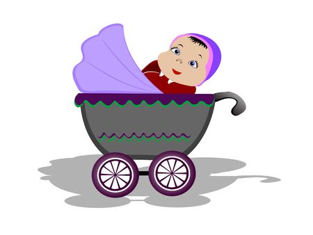 trolly: baby in trolly on isolated background
