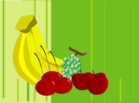 fresh fruits on striped background