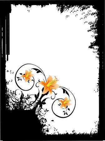 nice flowers in grunge frame
