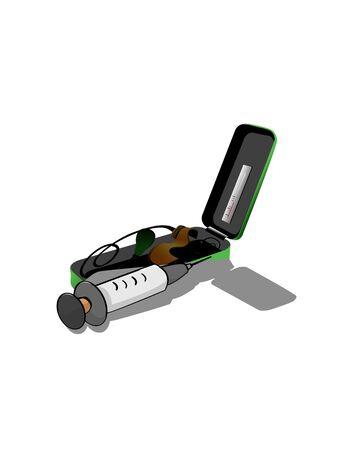 sphygmomanometer: sphygmomanometer and injection  on isolated background