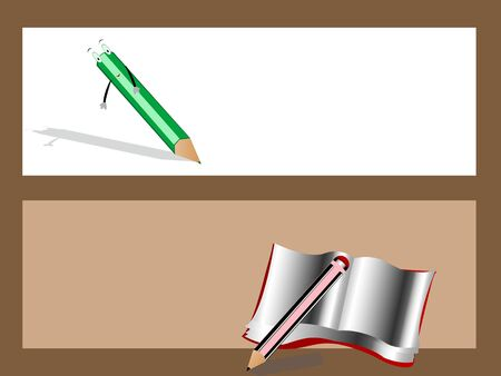 pencil and notebook on text-template Stok Fotoğraf - 3308070