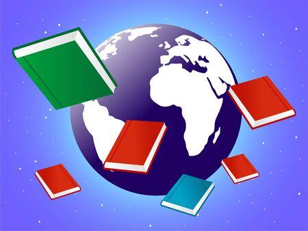 boeken met globe   Stockfoto