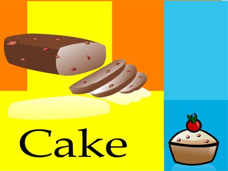 cake in pieces on abstract background   photo