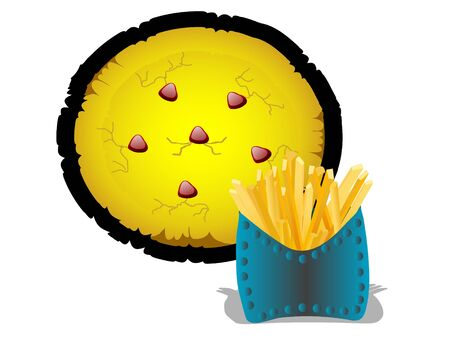 pizza and french fries on isolated background   photo