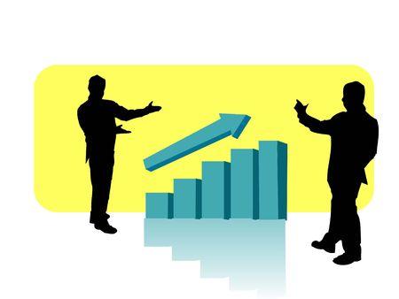 Man bespreken winst met bar-grafiek Stockfoto - 3307593