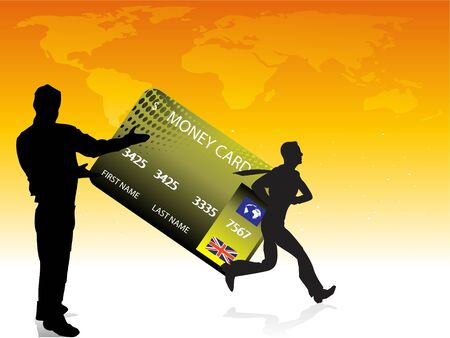mastercard:  card on world maprnrnrn Stock Photo
