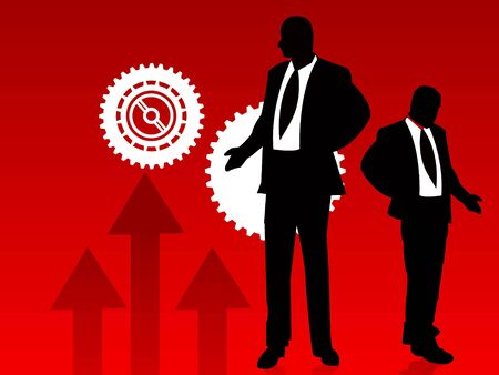 businessmen with cogwheels on abstract backgroundrn Stok Fotoğraf