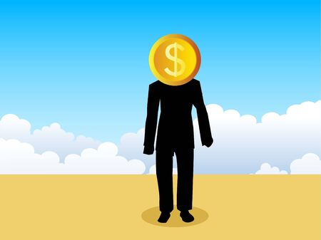 man with dollar on cloudy background     photo