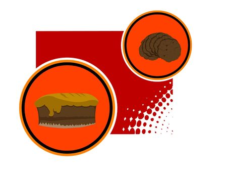 cookies and cake on abstract background