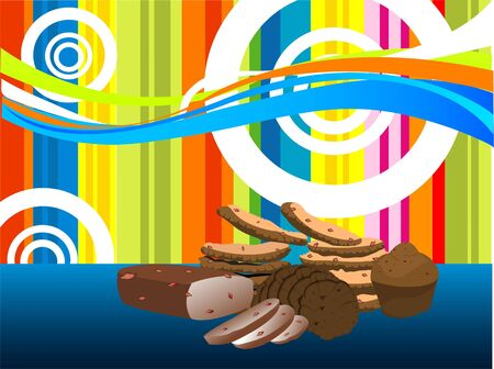 cookies and pieces of cake on multicolored background