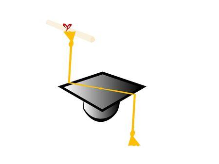 graduation degree on isolated background